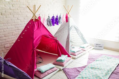 Obraz na płótnie Teepee Tents For Pajama Party At Home