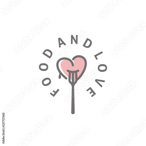 Obraz na płótnie Fork and Heart for Food and Love logo design inspiration