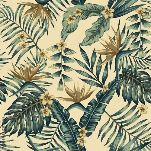 Folia na okno łazienkowe Tropikalne liście i złote kwiaty i beżowe tło
