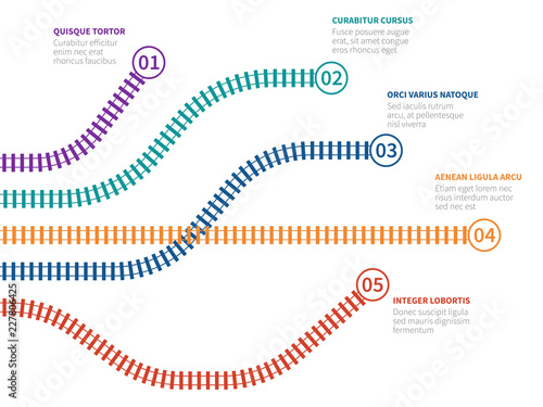Fotografie, Obraz Railroad tracks infographic