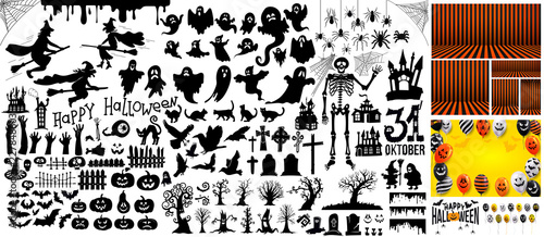 Valokuva Big Set of halloween silhouettes black icon and character