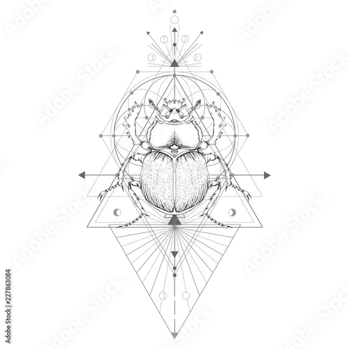 Vector illustration with hand drawn scarab and Sacred geometric symbol on white background. Abstract mystic sign. Black linear shape. For you design: tattoo, print, posters.