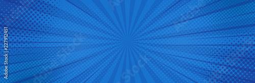Fotografia Vintage pop art blue background. Banner vector illustration
