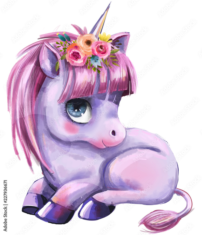 little cartoon fairytale unicorn <span>plik: #227936671 | autor: cofeee</span>