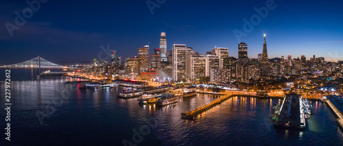 Photo Aerial View of San Francisco Skyline with Holiday City Lights