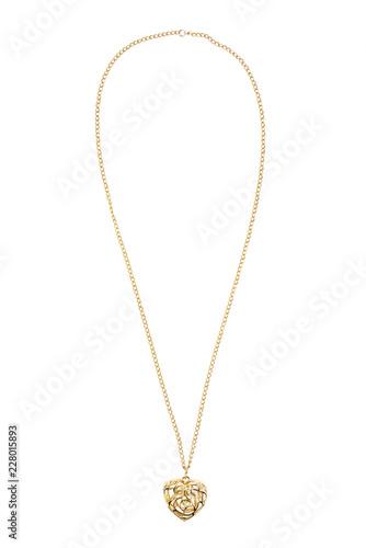 Fotografie, Obraz Heart shaped gold necklace on white background