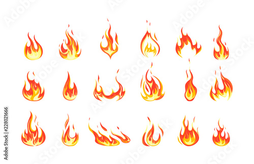 Valokuvatapetti Set of red and orange fire flame