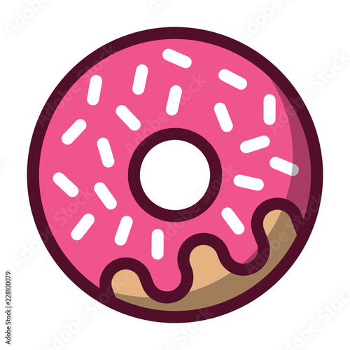 Canvas Print Simple, flat, pink donut icon