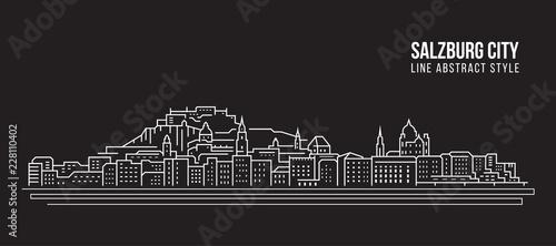 Fototapeta premium Cityscape Budynek Grafika liniowa Projekt ilustracji wektorowych - miasto Salzburg