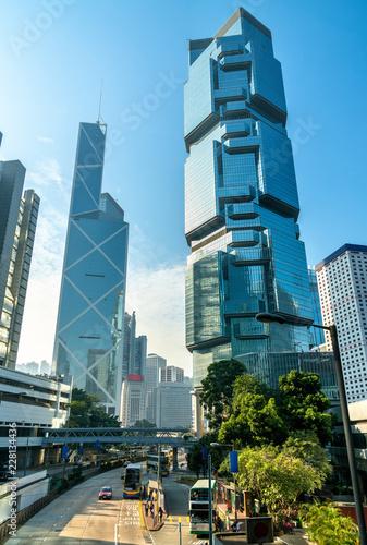 Skyscrapers in Admiralty along Queensway in Hong Kong City