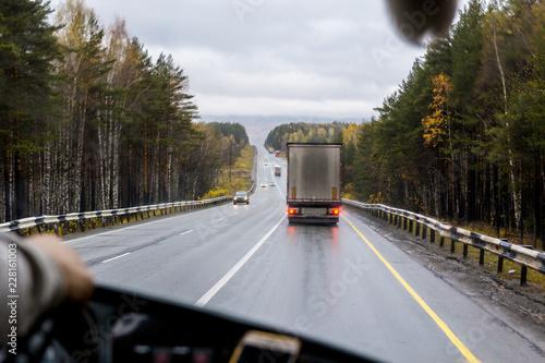 Obraz na płótnie view of the highway from the cab