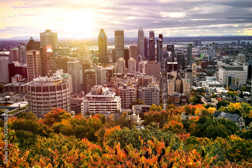 Canvas Print Montreal Canada City sunset