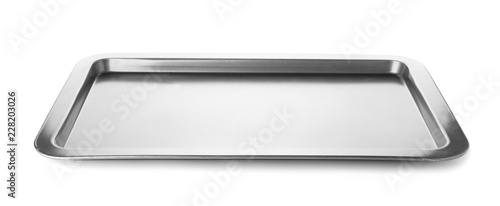 Empty baking tray for oven isolated on white