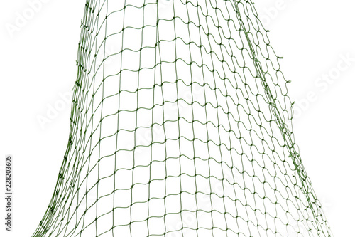 Fishing net on white background, closeup view