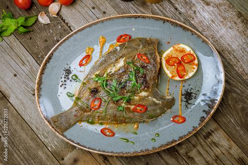 Canvas-taulu fried flounder on a plate