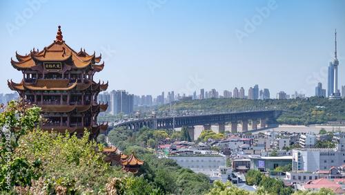 The double deck bridge across the Yantsze river. Panorama view .