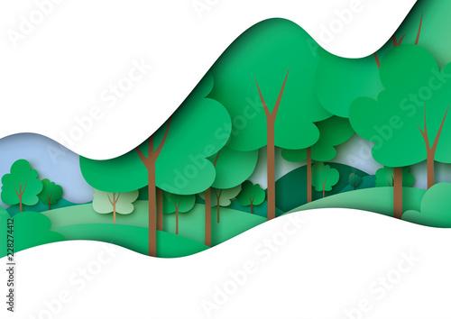Obraz premium Zielona ekologia i koncepcja środowiska z natura las krajobraz papier sztuka abstrakcyjne tło. Ilustracja wektorowa.