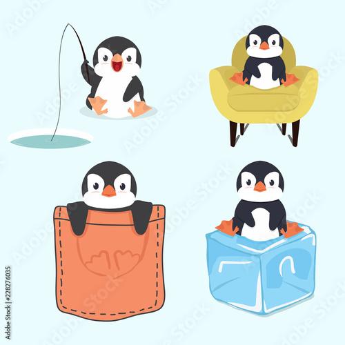 Fototapeta premium Cute little penguin set