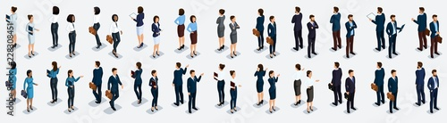 Photo Isometric large set of businessmen and business woman, front view and rear view,