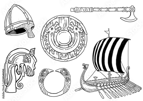 Fotografia Viking artefacts drawings