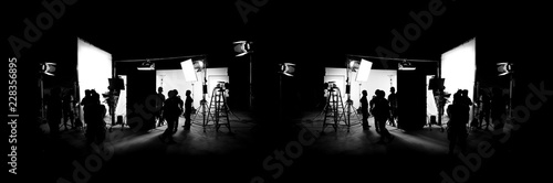 Silhouette images of video production behind the scenes or b-roll or making of T Fototapet