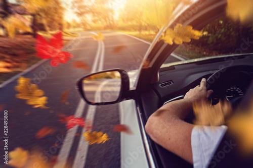Fotografiet Autumn driving by car