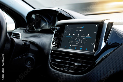 Control home temperature and security with smart home app in-car display. Home temperature, safety and environment