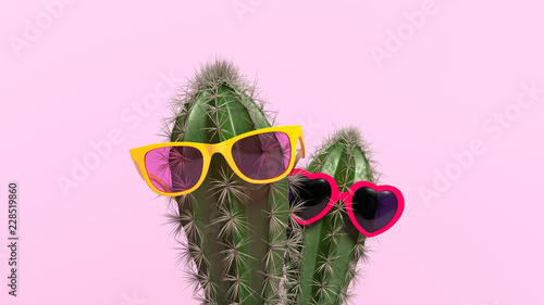 Foto Creative concept of cactus with glasses in flower pot