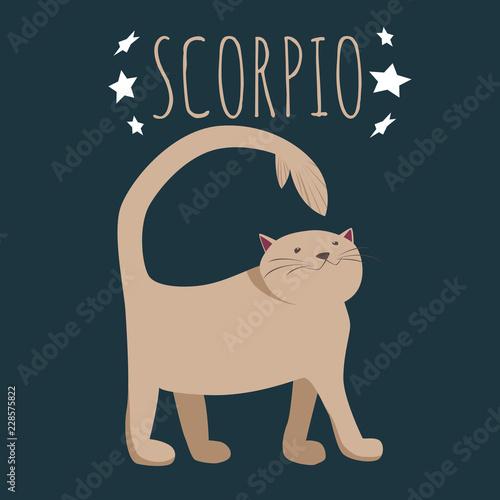 Fotografie, Obraz Zodiac sign scorpio; cat cartoon character stylized as zodiac scorpio; vector il