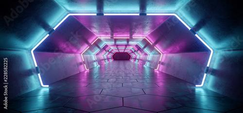 Obraz na plátně Bright Modern Futuristic Alien Reflective Concrete Corridor Tunnel Empty Room Wi