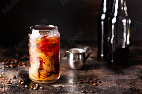 Stampa su Tela Cold brew iced coffee in glass bottles