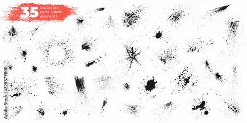 Fotografia Set of black ink splashes and drops