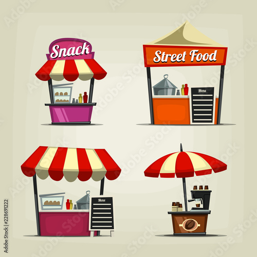 Stampa su Tela vector cartoon street food festival stall isolated template with coffee snack an