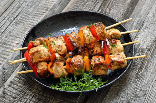 Chicken kebab with bell pepper