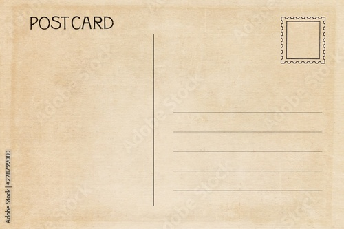 Back of vintage blank postcard with dirty stain