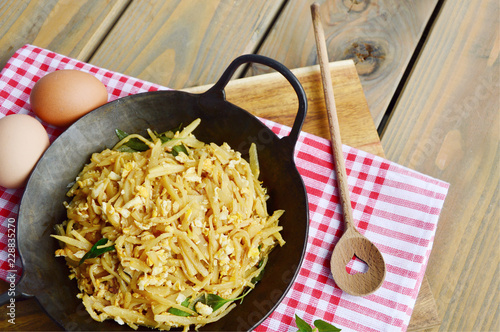 stir-fried Bamboo shoot  with eggs.  Bamboo menu for children.