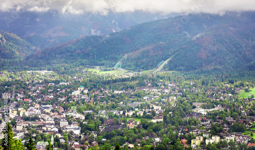 Summer panorama of Zakopane city