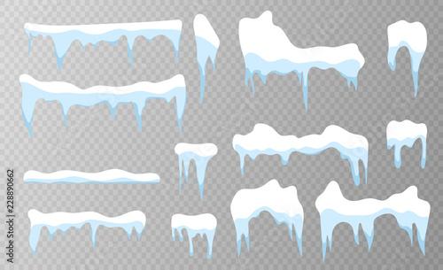 Fotografia Set of snow icicles on transparent background
