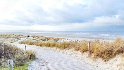 Obraz na płótnie Holzsteg durch die Dünen zum Strand