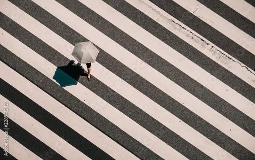 Slika na platnu Aerial view of people crossing a big intersection in Tokyo, Japan