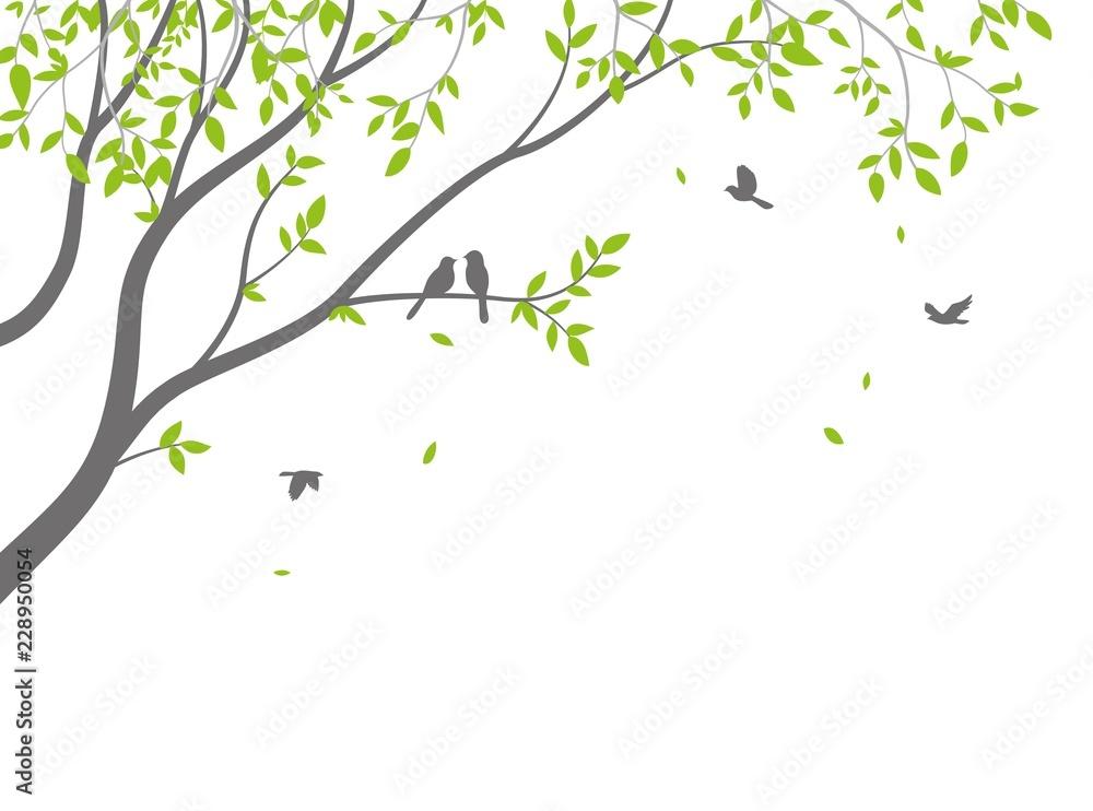 Beautiful tree branch with birds silhouette background for wallpaper sticker <span>plik: #228950054 | autor: radenmas</span>