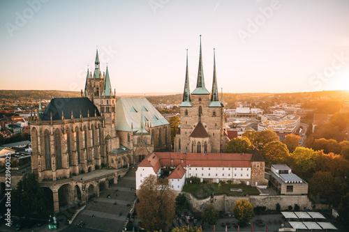 Tableau sur Toile Erfurter Dom aus der Luft