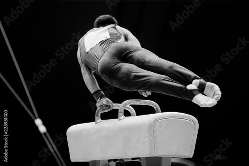 pommel horse athlete gymnast in competition artistic gymnastics
