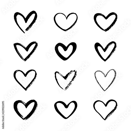 Set, collection of various brush, chalk, marker drawn line heart shapes, silhouettes, outlines Fototapet