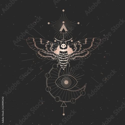 Vector illustration with hand drawn dead head moth and Sacred geometric symbol on black vintage background Fototapeta