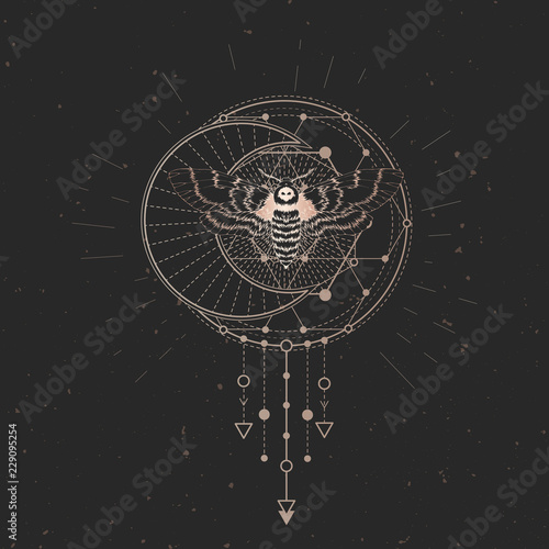 Fotografia Vector illustration with hand drawn dead head moth and Sacred geometric symbol on black vintage background