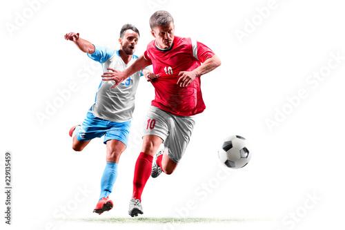 Carta da parati caucasian soccer players isolated on white background