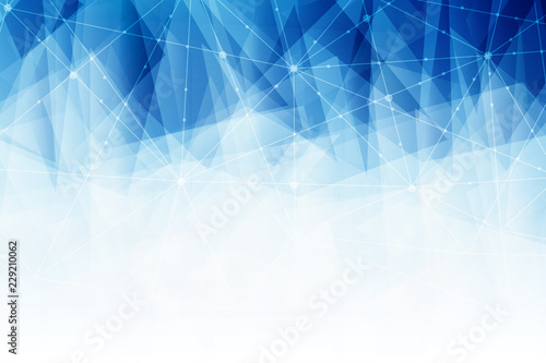 Abstract Lowpoly connecting dots and line on blue color background.