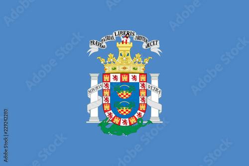 Flag of Melilla. Vector illustration. World map
