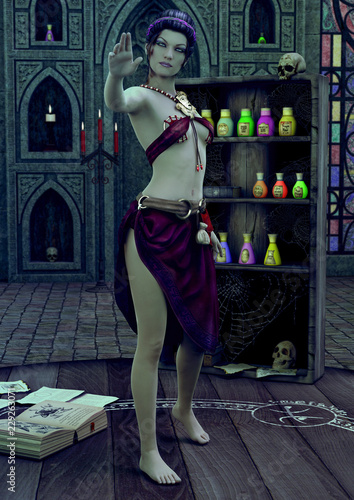 Photographie A sorceress standing in a temple making a gesture.